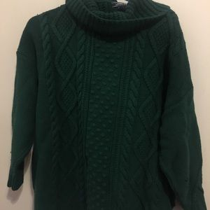 Lands' End Forest Green Cowl Neck Sweater